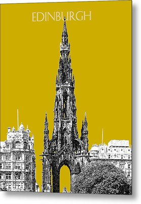 Edinburgh Skyline Scott Monument - Gold Metal Print by DB Artist