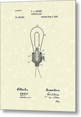 Edison Electric Lamp 1882 Patent Art Metal Print