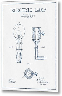 Edison Electric Lamp Patent From 1882  - Blue Ink Metal Print