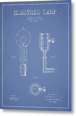 Edison Electric Lamp Patent From 1882 - Light Blue Metal Print