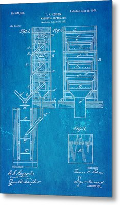 Edison Magnetic Separator Patent Art 1901 - Blueprint Metal Print by Ian Monk