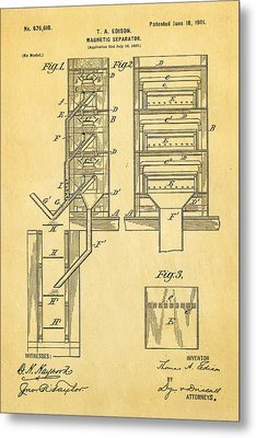 Edison Magnetic Separator Patent Art 1901 Metal Print by Ian Monk