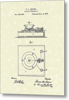 Edison Telephone 1879 Patent Art Metal Print