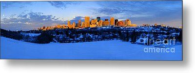 Edmonton Winter Skyline Panorama 1 Metal Print by Terry Elniski