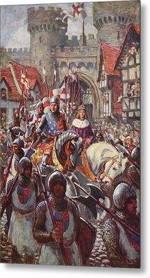 Edward V Rides Into London With Duke Metal Print by Charles John de Lacy