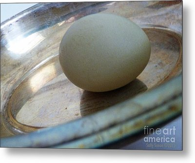 Egg In A Dish Metal Print by Sally Simon