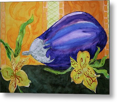 Metal Print featuring the painting Eggplant And Alstroemeria by Beverley Harper Tinsley