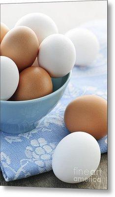 Eggs In Bowl Metal Print by Elena Elisseeva