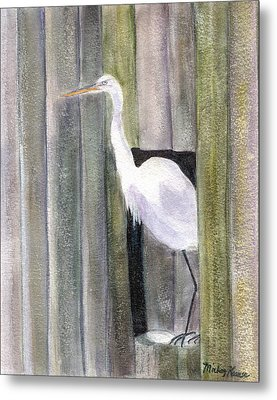 Egret At John's Pass Metal Print by Mickey Krause