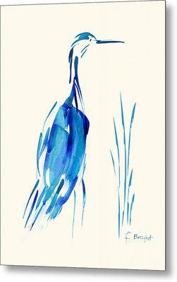 Egret In Blue Mixed Media Metal Print