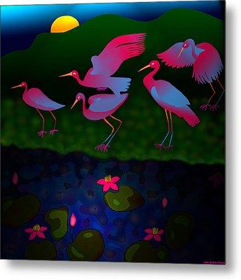 Egrets Metal Print by Latha Gokuldas Panicker