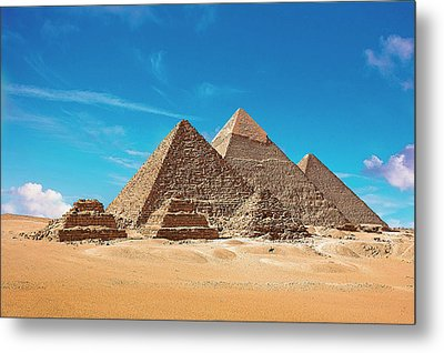 Egypt, Cairo, Giza, View Of All Three Metal Print