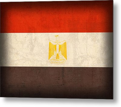 Egypt Flag Distressed Vintage Finish Metal Print by Design Turnpike