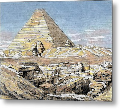 Egypt Pyramids And Sphinx Colored Metal Print