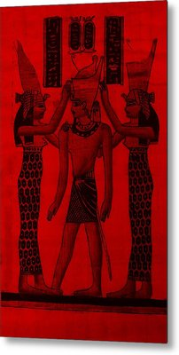 Pharaoh Atem Red Metal Print by Rob Hans