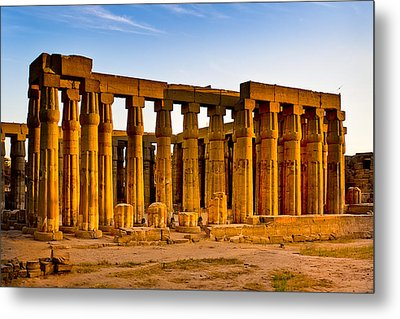Egyptian Temple Ruins In Luxor Metal Print by Mark E Tisdale