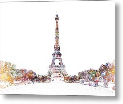 Eiffel Color Splash Metal Print by Aimee Stewart