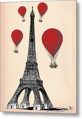 Eiffel Tower And Red Hot Air Balloons Metal Print by Kelly McLaughlan