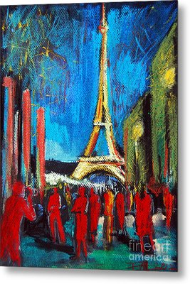 Eiffel Tower And The Red Visitors Metal Print by Mona Edulesco