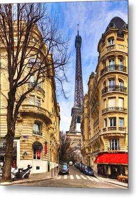 Eiffel Tower And The Streets Of Paris Metal Print by Mark E Tisdale