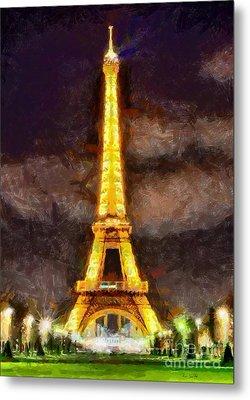 Metal Print featuring the digital art Eiffel Tower By Night by Kai Saarto