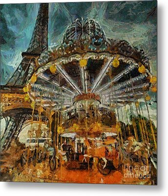 Eiffel Tower Carousel Metal Print