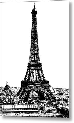 Eiffel Tower Drawing 19th Century Metal Print by