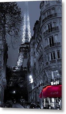 Eiffel Tower From A Side Street Metal Print by Simon Kayne