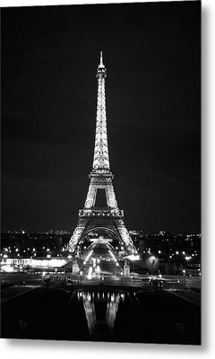 Eiffel Tower In Black And White Metal Print by Heidi Hermes