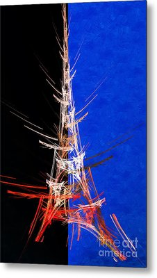 Eiffel Tower In Red On Blue  Abstract  Metal Print by Andee Design