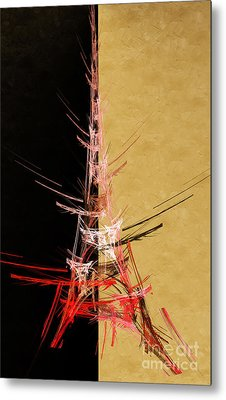 Eiffel Tower In Red On Gold  Abstract  Metal Print by Andee Design