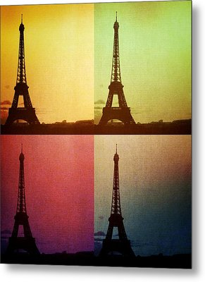 Eiffel Tower In Sunset Metal Print by Marianna Mills
