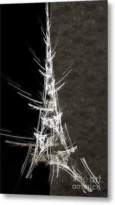 Eiffel Tower In White Bw 2 Abstract Metal Print by Andee Design