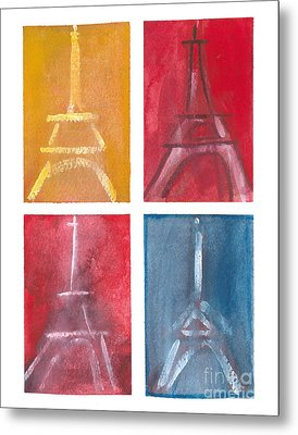Eiffel Tower Paintings Of 4 Up Metal Print by Robyn Saunders