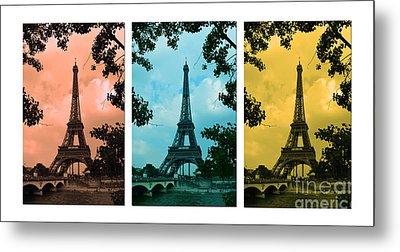Eiffel Tower Paris France Trio Metal Print by Patricia Awapara