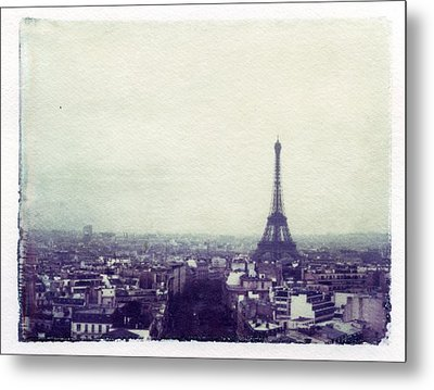 Eiffel Tower Paris Polaroid Transfer Metal Print by Jane Linders