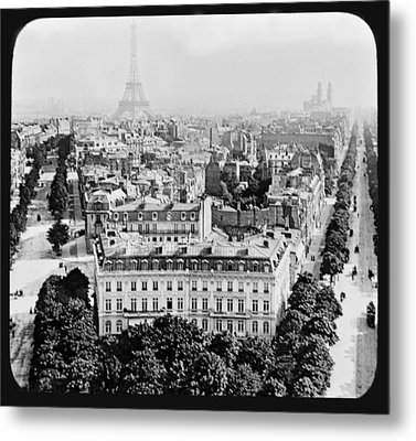 Metal Print featuring the photograph Eiffel Tower Paris Rooftops1903 by A Gurmankin