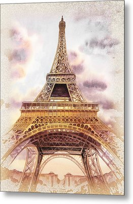 Eiffel Tower Vintage Art Metal Print by Irina Sztukowski