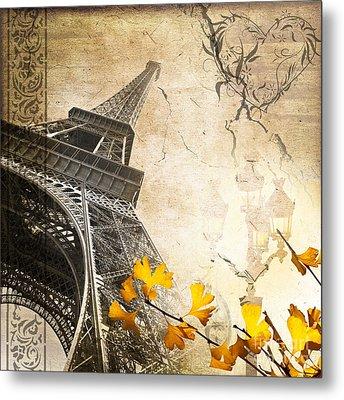 Eiffel Tower Vintage Collage Metal Print
