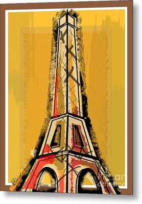 Eiffel Tower Yellow Black And Red Metal Print by Robyn Saunders