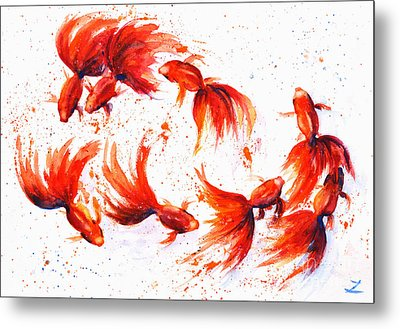 Eight Dancing Goldfish  Metal Print