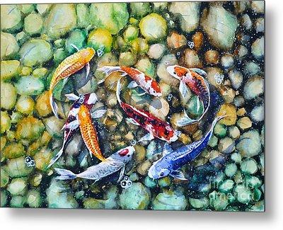 Eight Koi Fish Playing With Bubbles Metal Print by Zaira Dzhaubaeva
