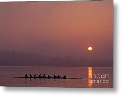 Eight Man Crew On Union Bay Silhouetted At Sunrise  Metal Print by Jim Corwin
