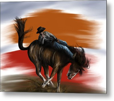 Eight Seconds - Rodeo Bronco Metal Print