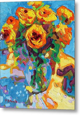Eight Yellow Roses Oil Painting Bertram Poole Apr14 Metal Print by Thomas Bertram POOLE