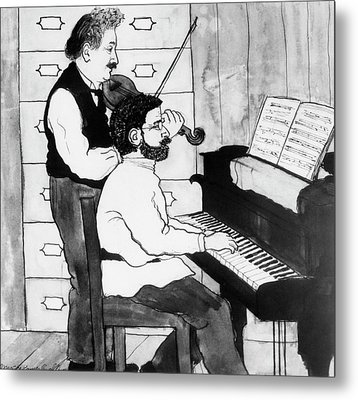 Einstein And Ehrenfest Duet In Leiden Metal Print by Emilio Segre Visual Archives/american Institute Of Physics