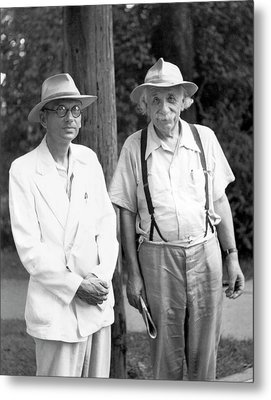 Einstein And Godel Metal Print by Emilio Segre Visual Archives/american Institute Of Physics
