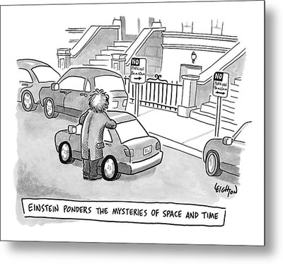 Einstein Is Seen Standing Next To A Parked Car Metal Print