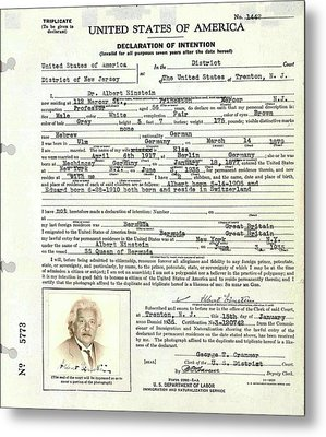 Einstein's Immigration Declaration Metal Print by Emilio Segre Visual Archives/american Institute Of Physics