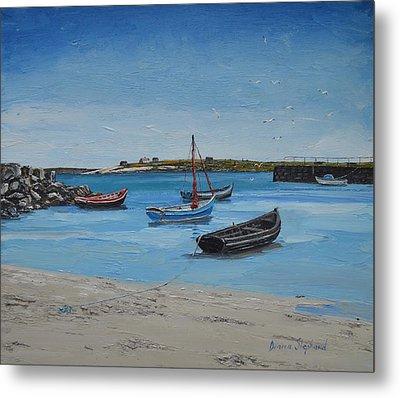 Eirlough Boats Roundstone Connemara Ireland Metal Print by Diana Shephard